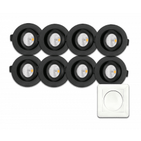 GYMBAL DOWNLIGHT 9W DIMTOWARM MED DIMBAR DRIVER, SORT, 8 PACK + LED DIMMER